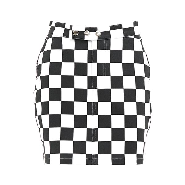 Checkerboard Slim Mini Skirt